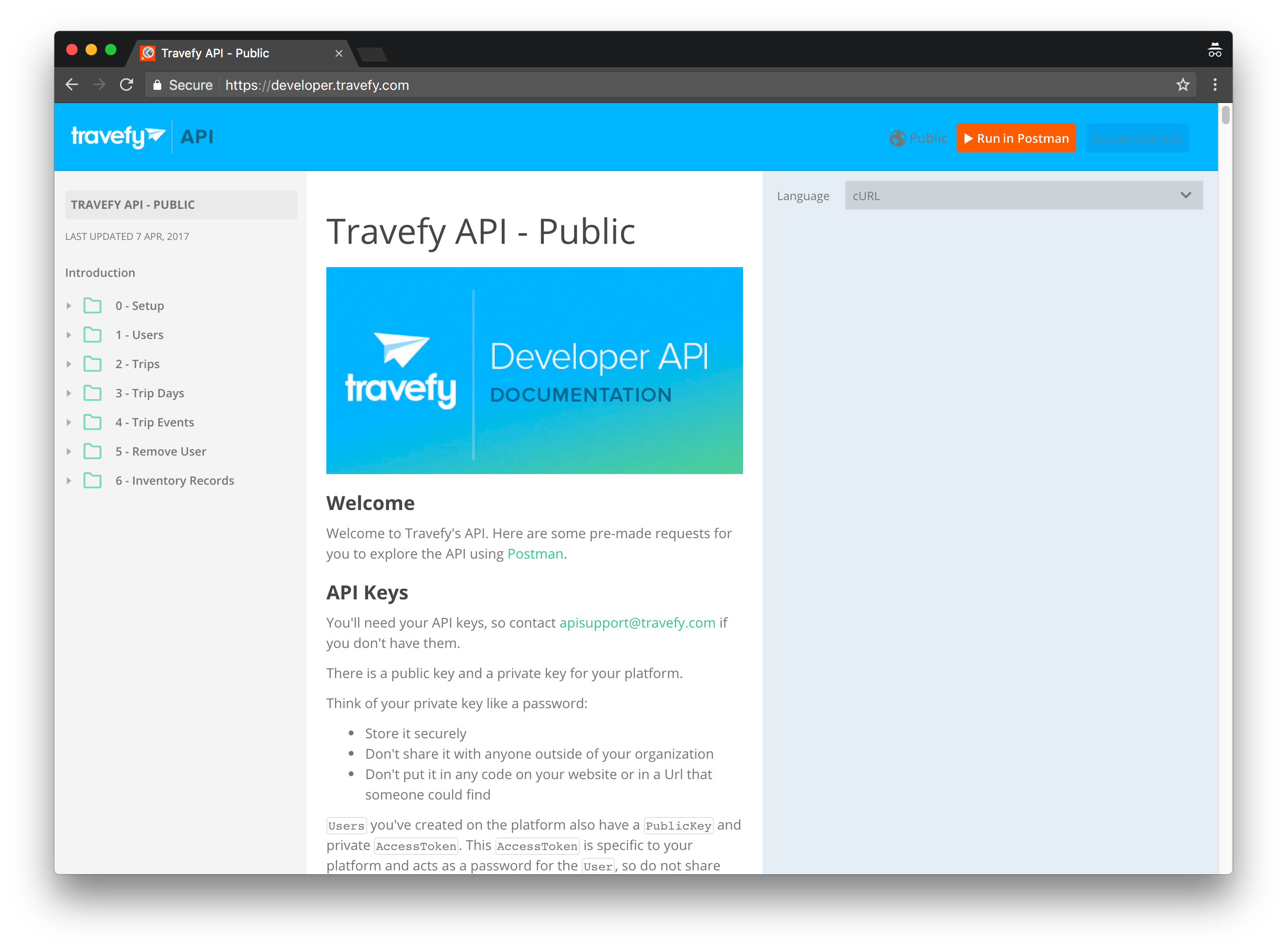 Travefy API docs