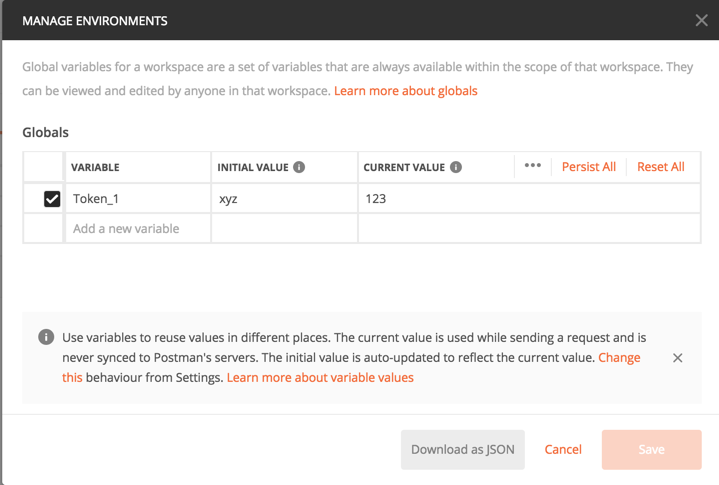 management environments modal