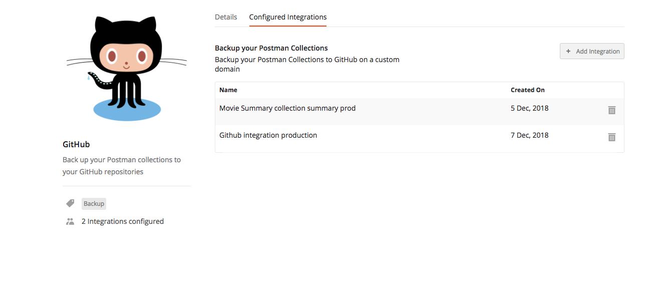 github integrations screen