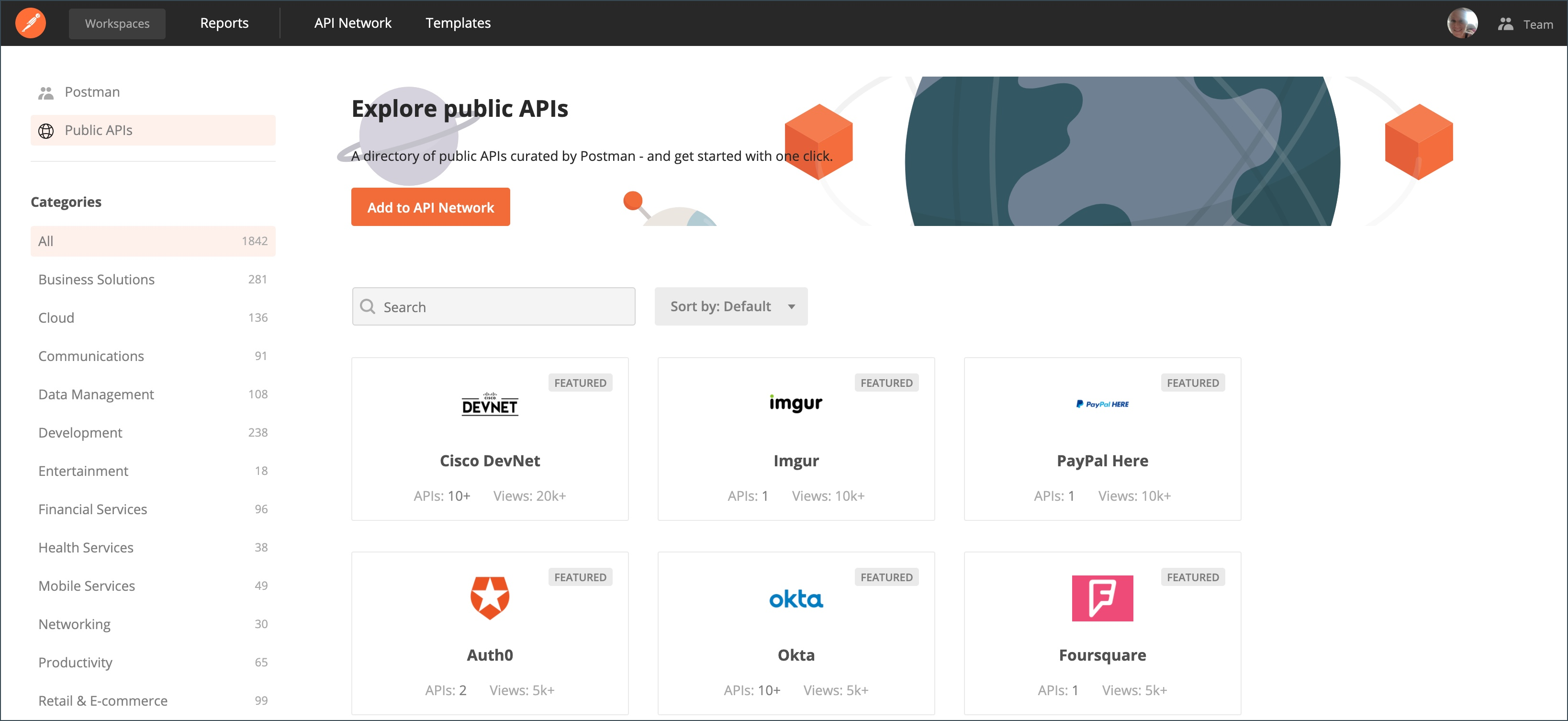 API Network Homepage