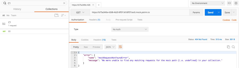 mock request not found error