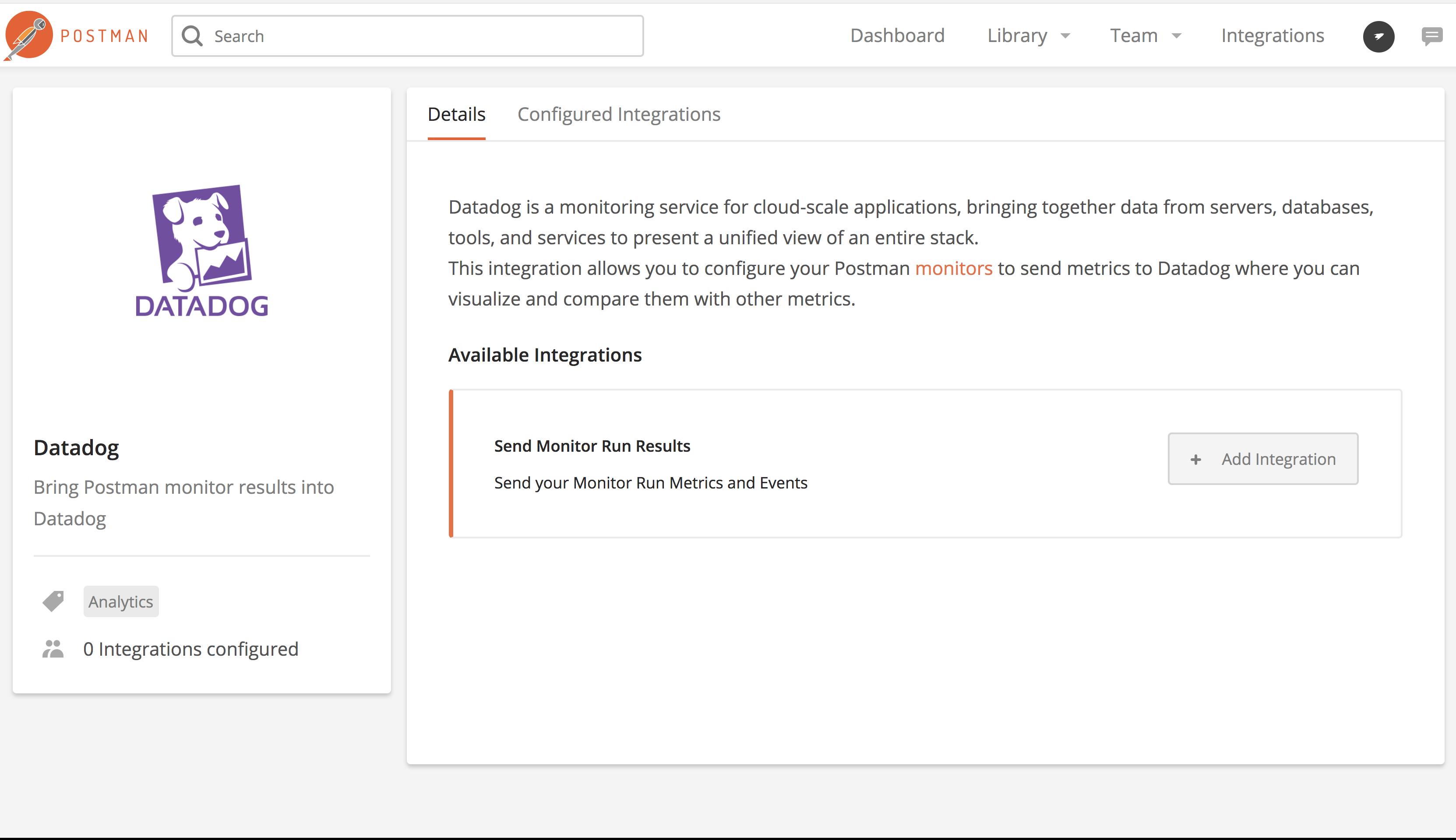 datadog integrations page