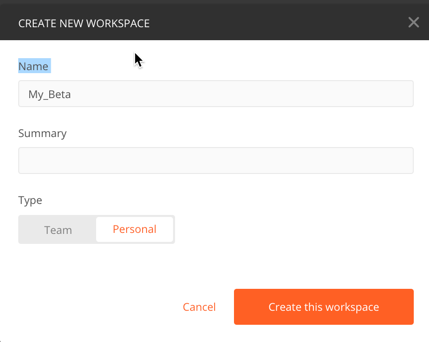 create new personal workspace