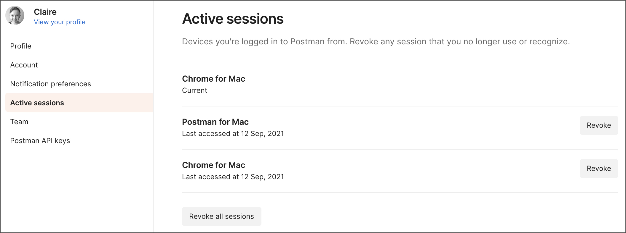Active sessions