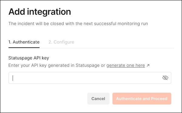 Statuspage add integration