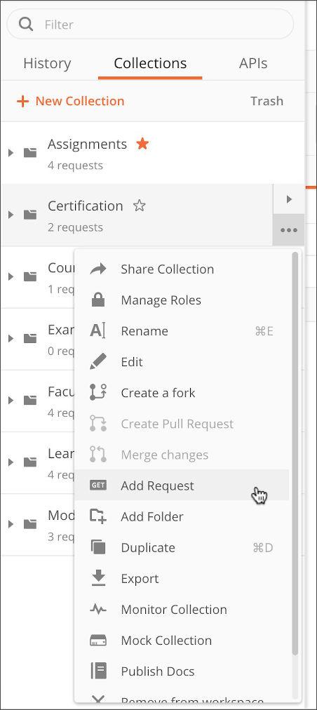 Add request to folder