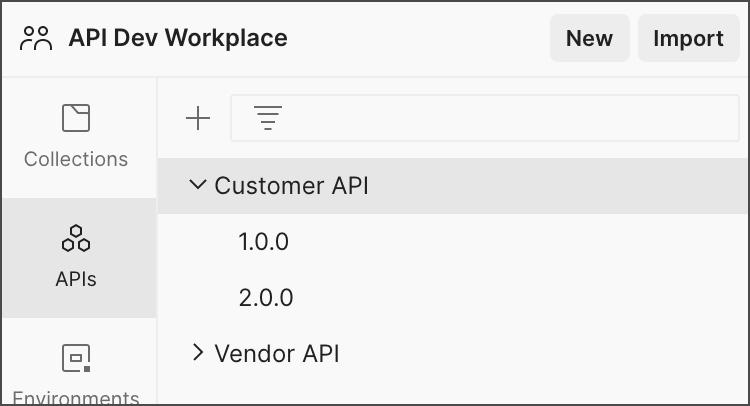 API Builder left sidebar