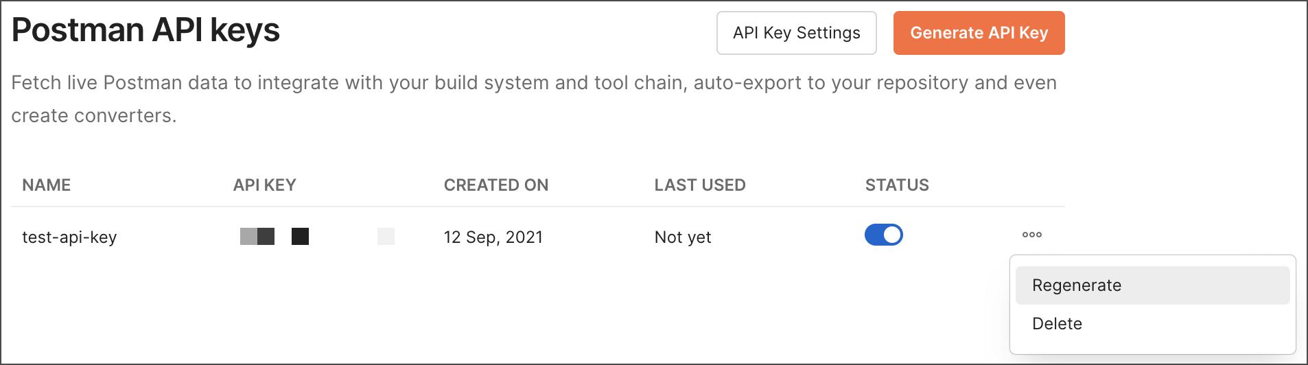 View your API keys