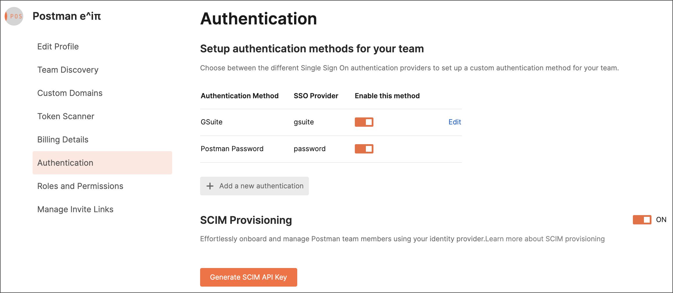 Generate SCIM API key