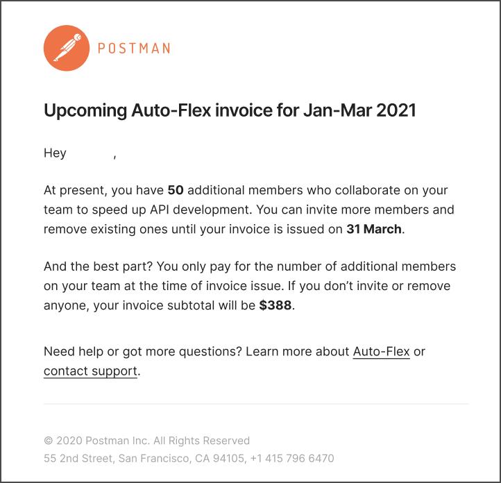 Auto-flex email notification