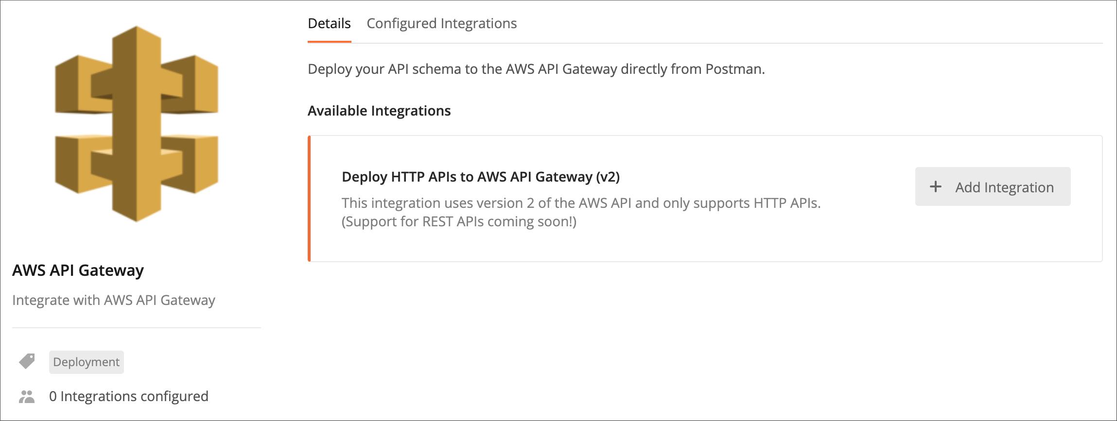 AWS API Gateway page