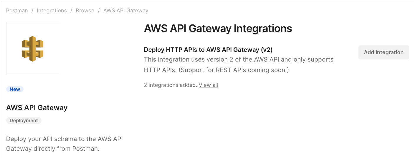 aws gateway add integration