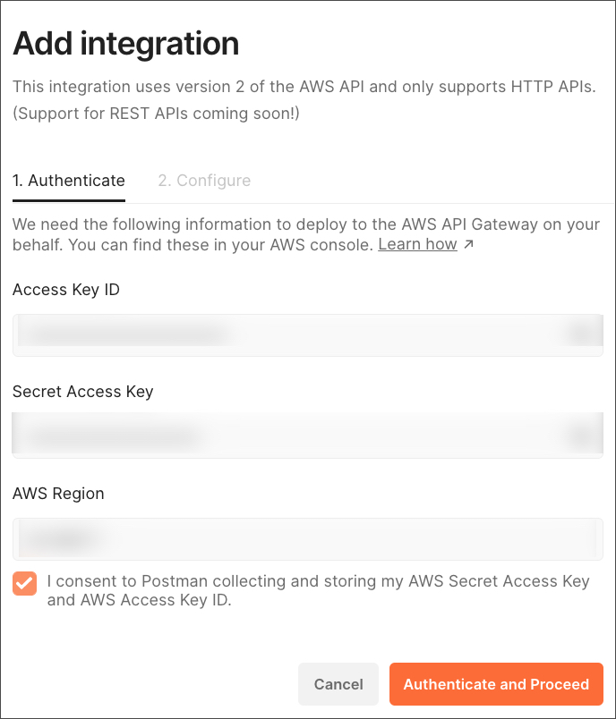 aws gateway auth and proceed