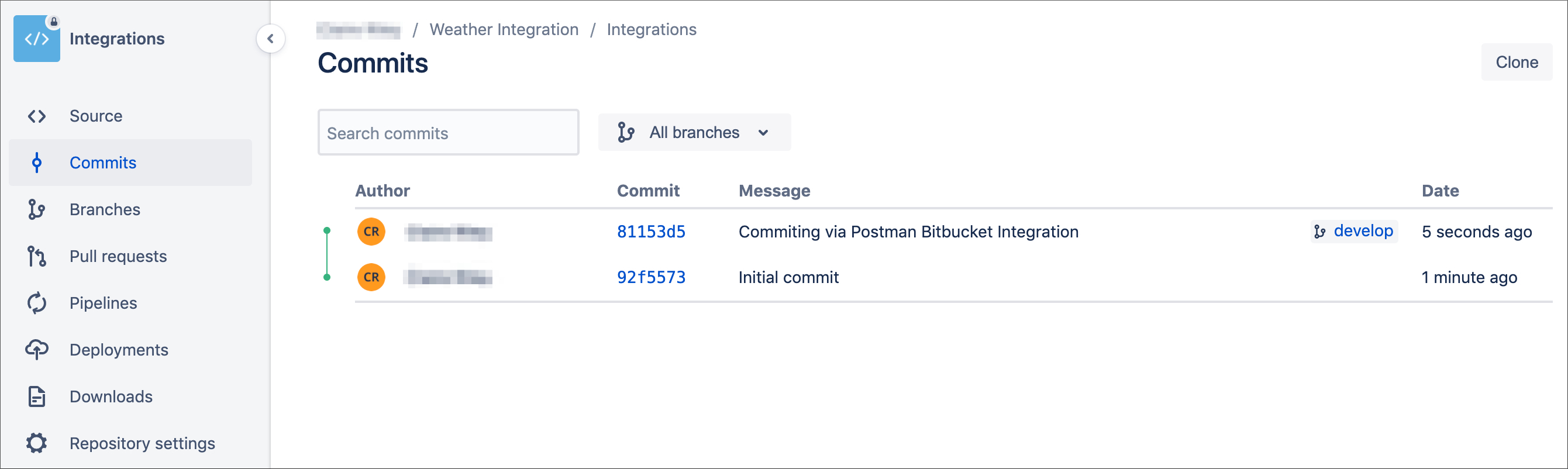 Bitbucket commits list