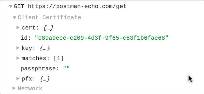 Certificate info in console