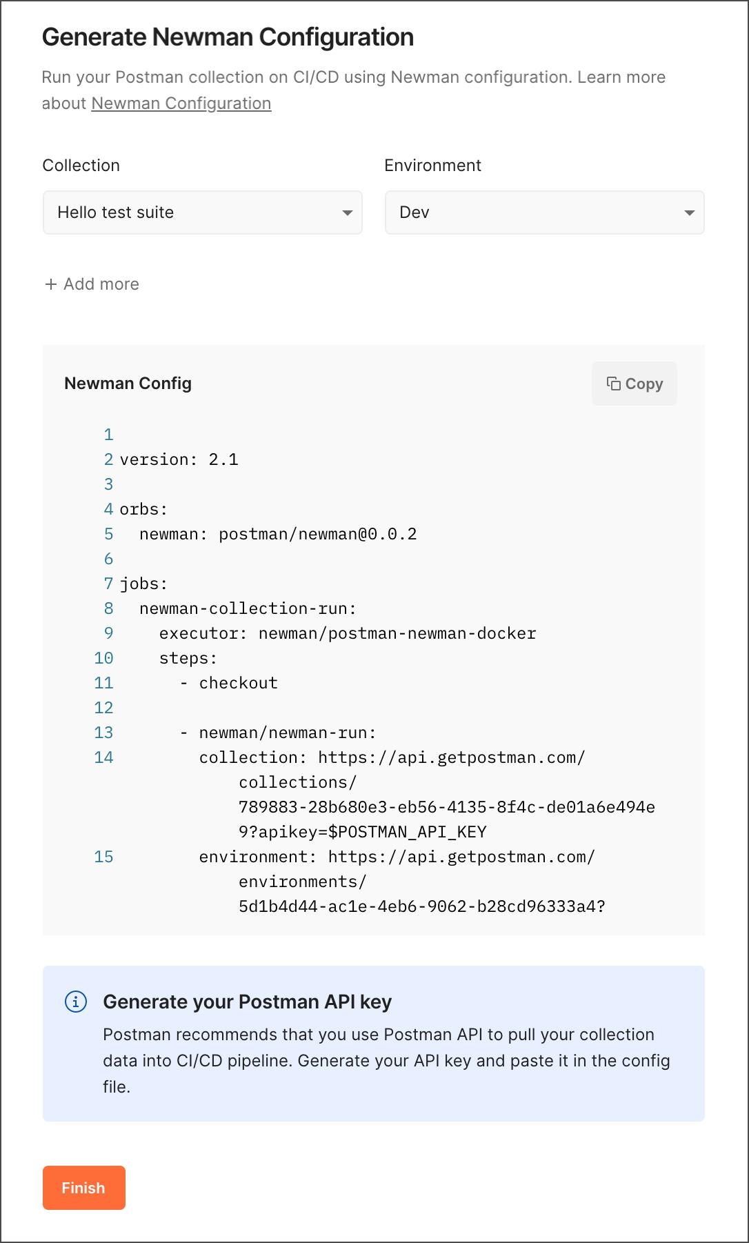 Generate Newman configuration for CI