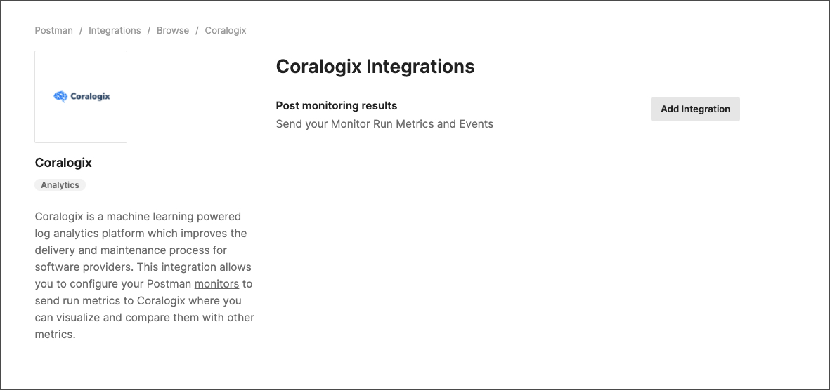 coralogix integrations page