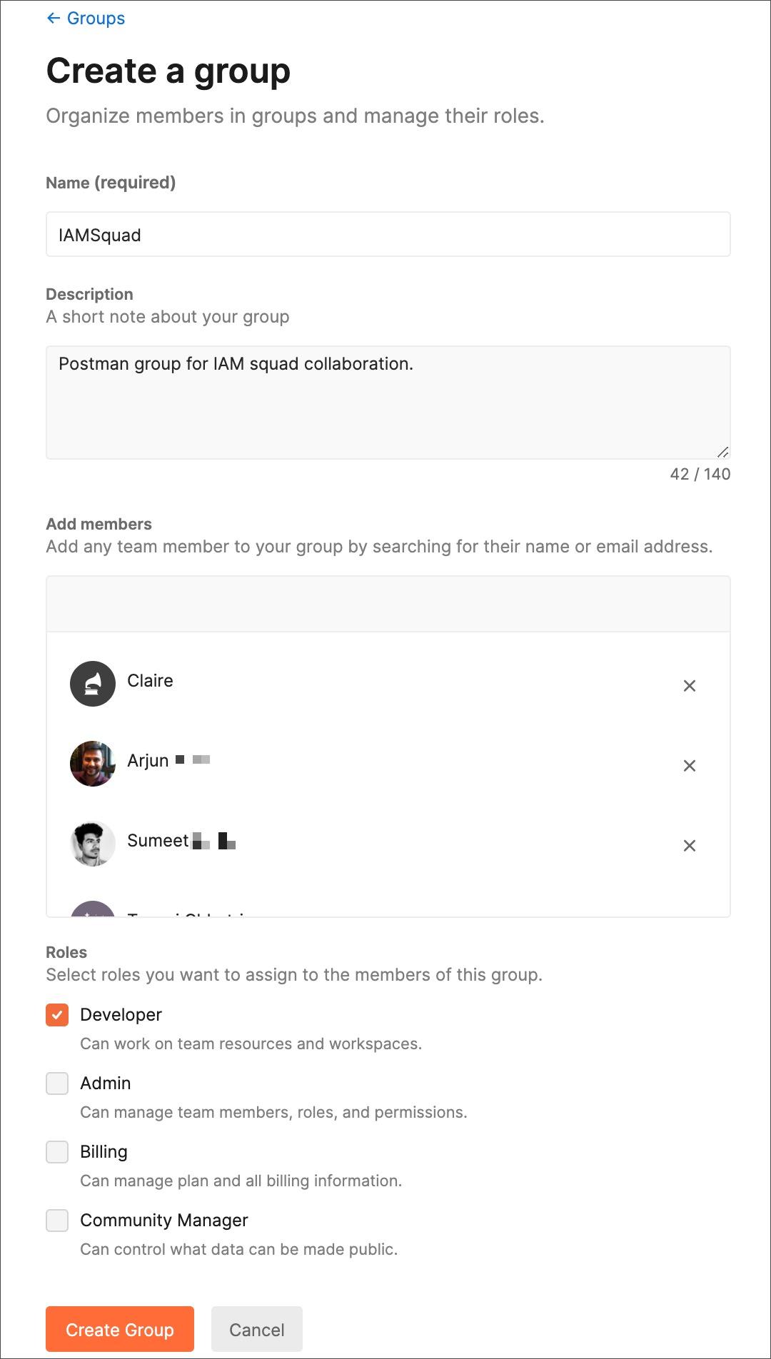 Create group form
