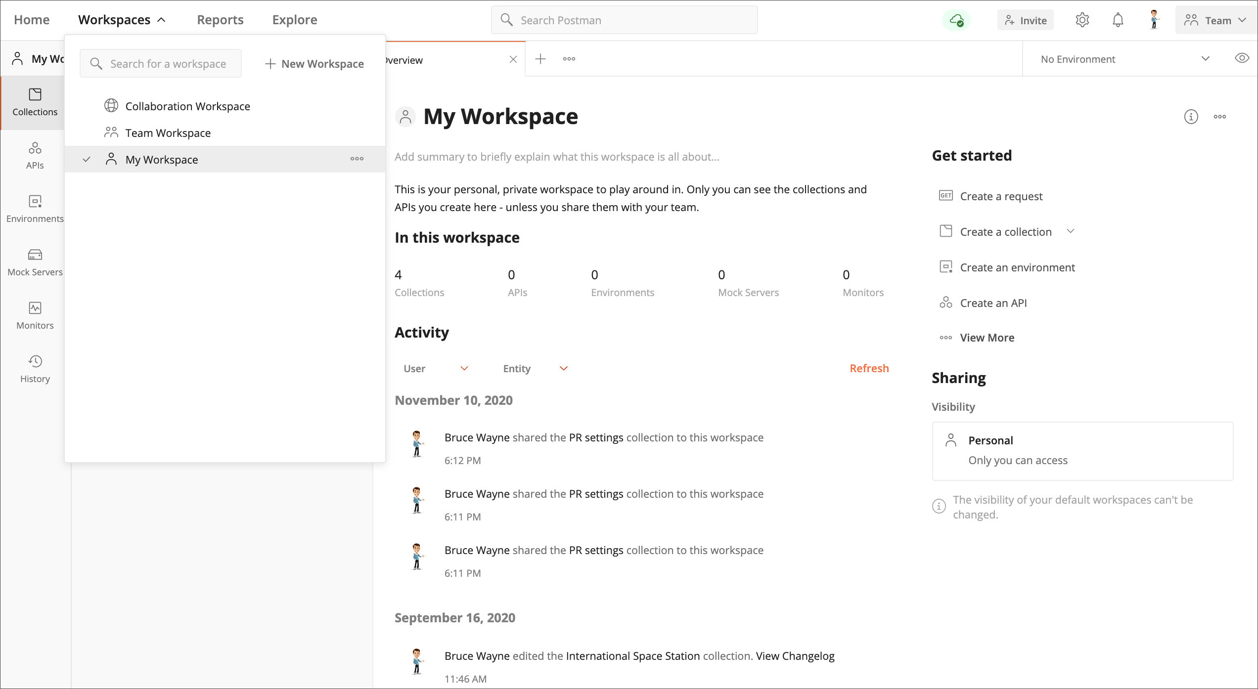 Create workspace homepage