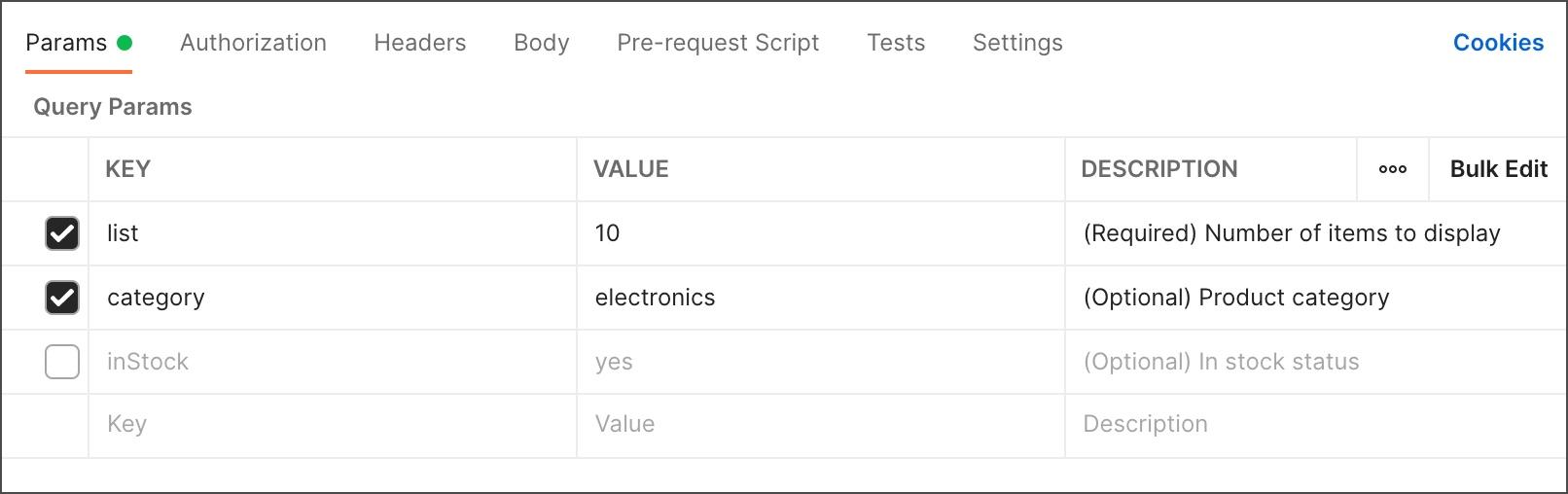 Parameter descriptions