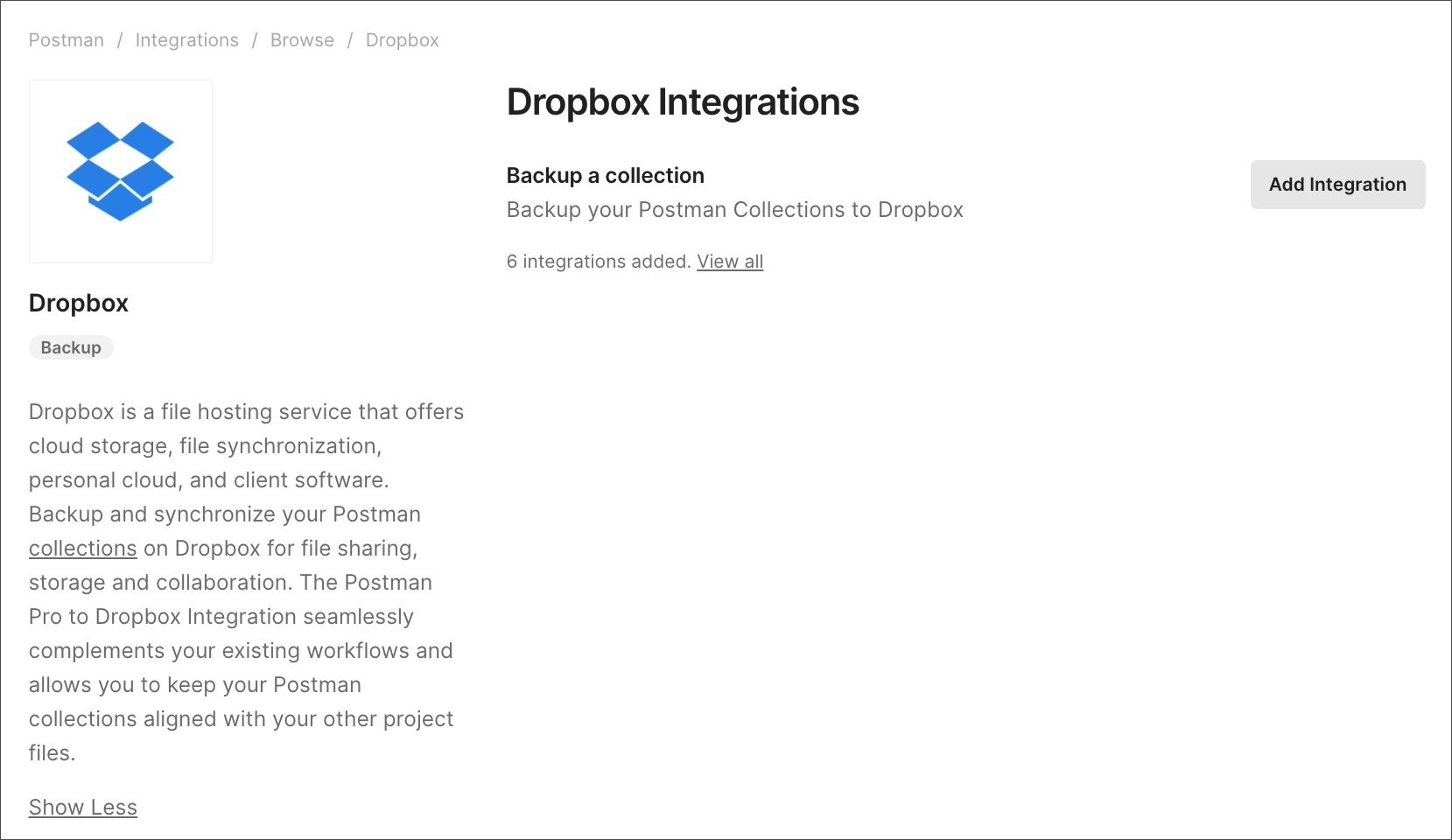 dropbox add integration