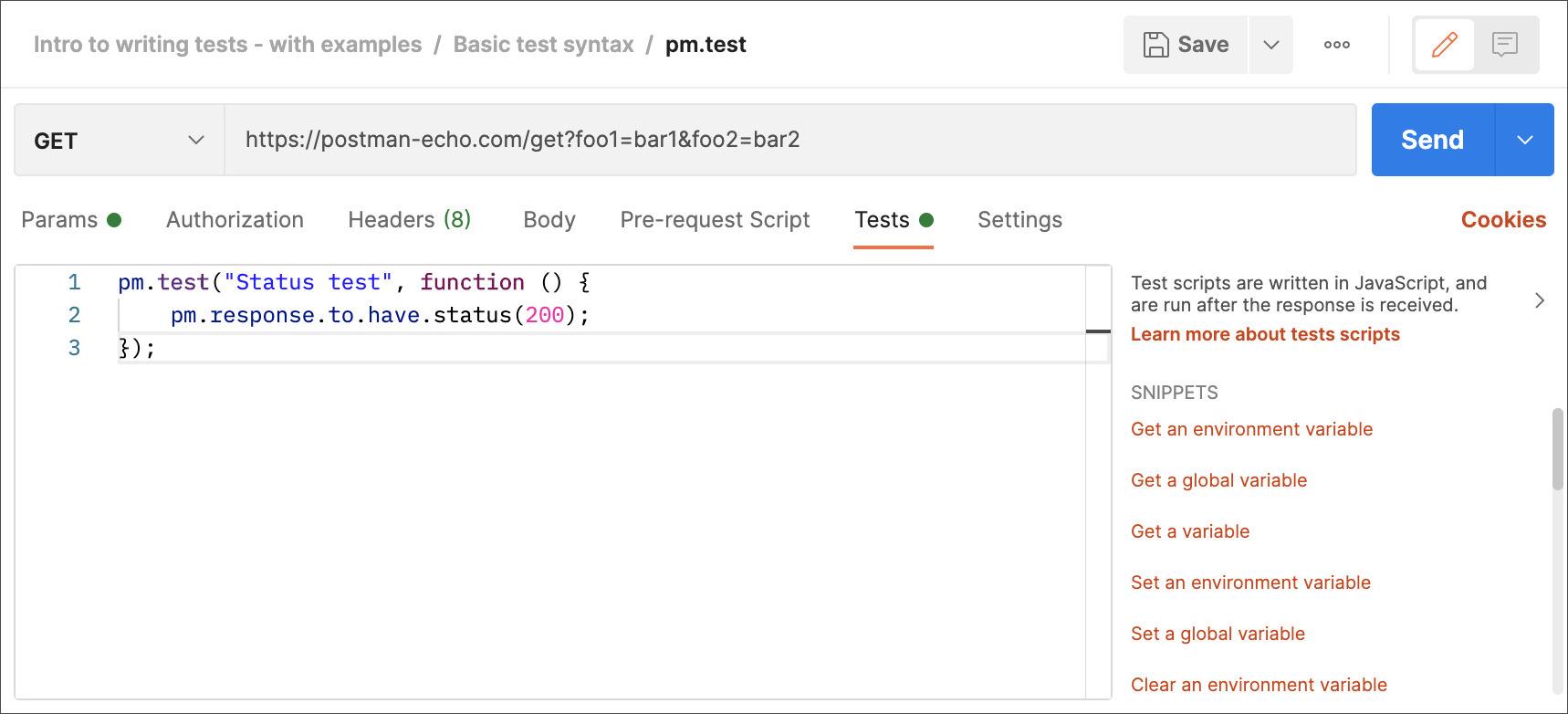 Example Test Status