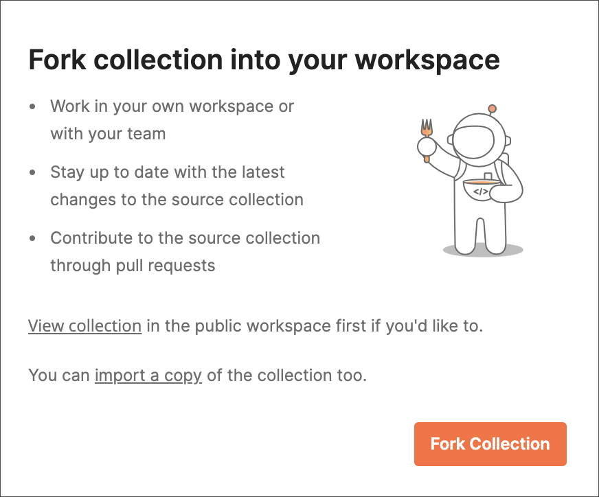Fork collection for run in postman