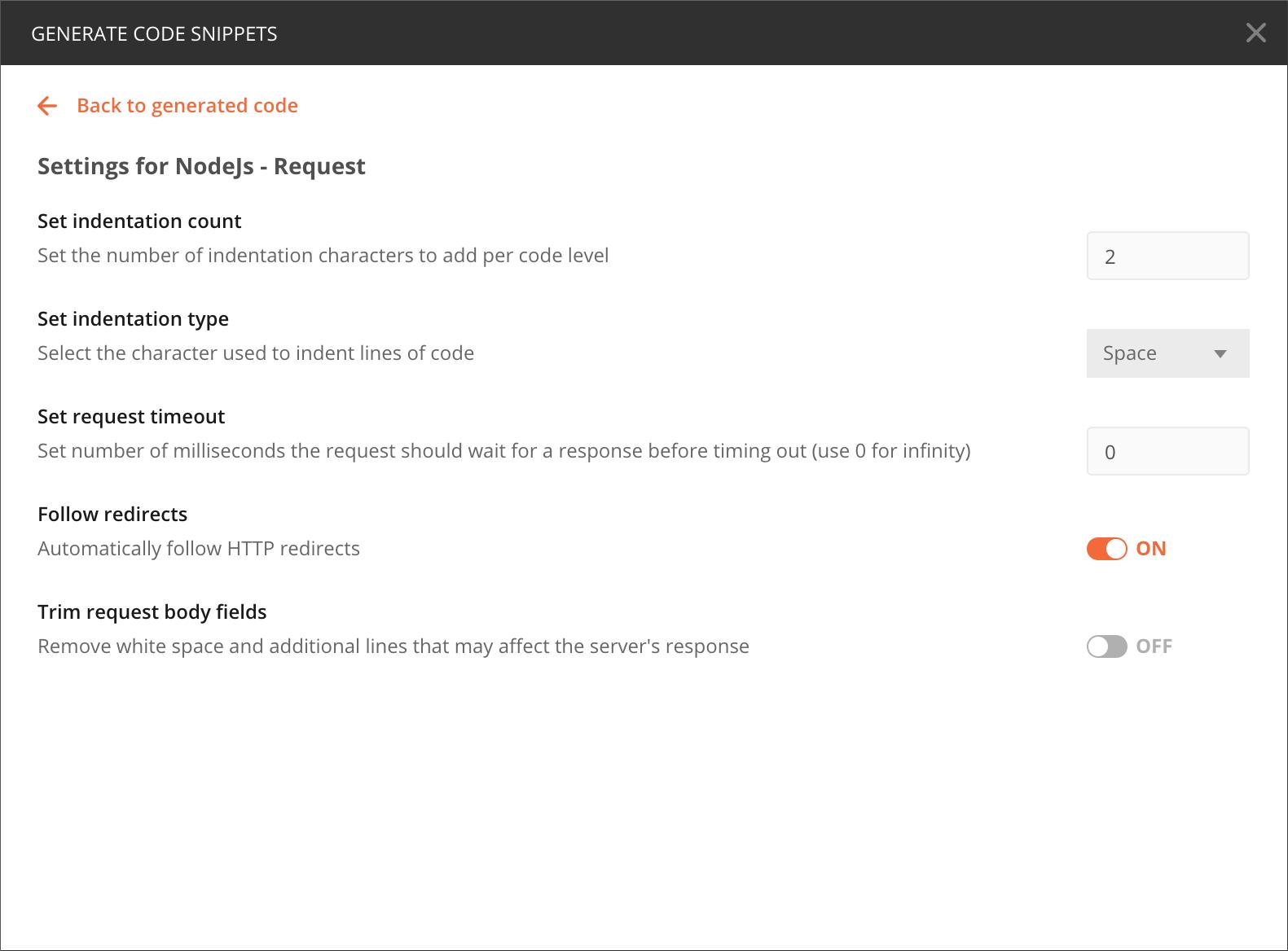 Generate code settings