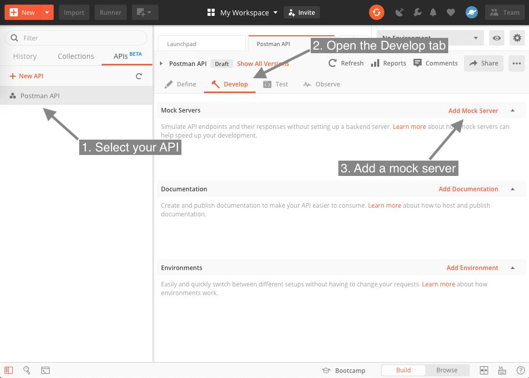Create mock from API Dev