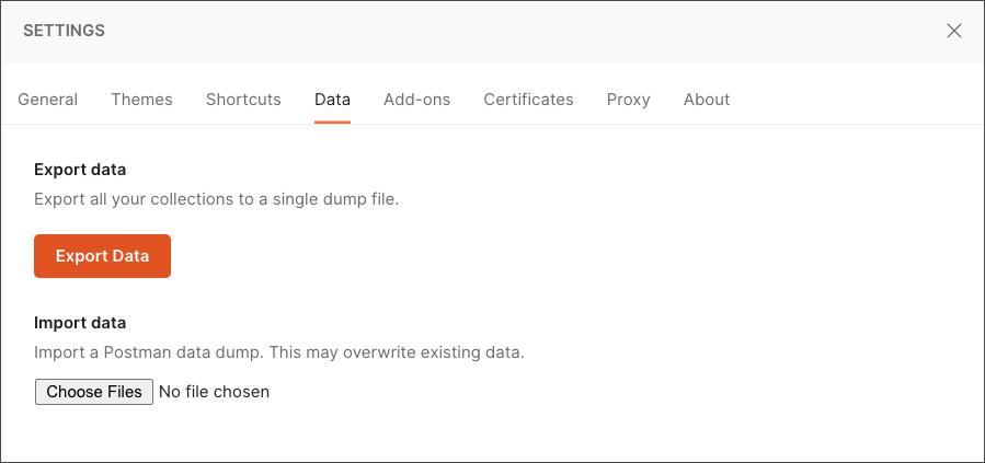 Export data dump
