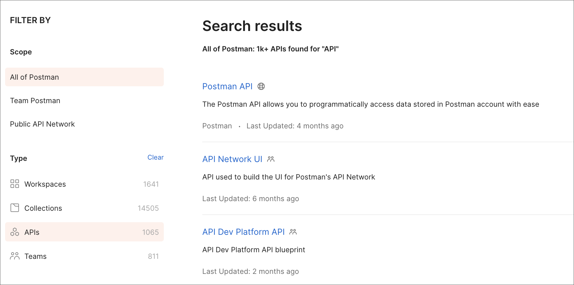 Individual API search results