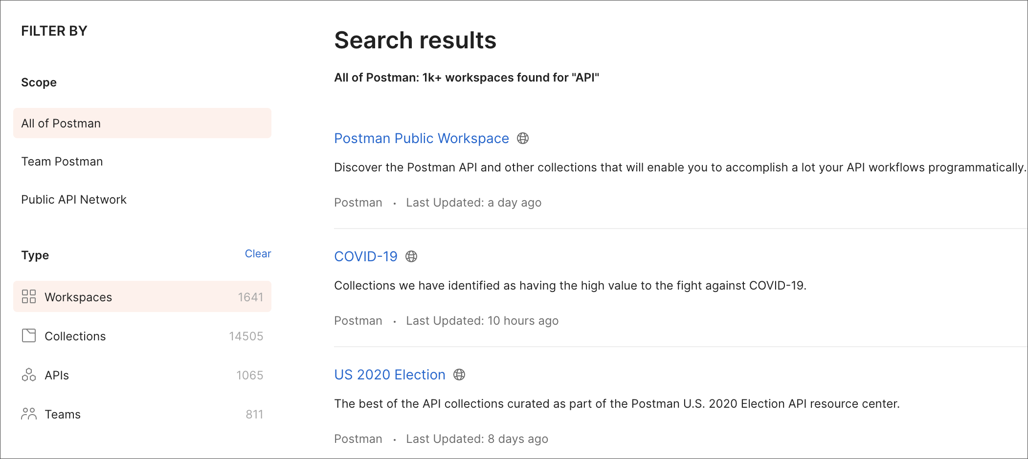 Individual workspace search results
