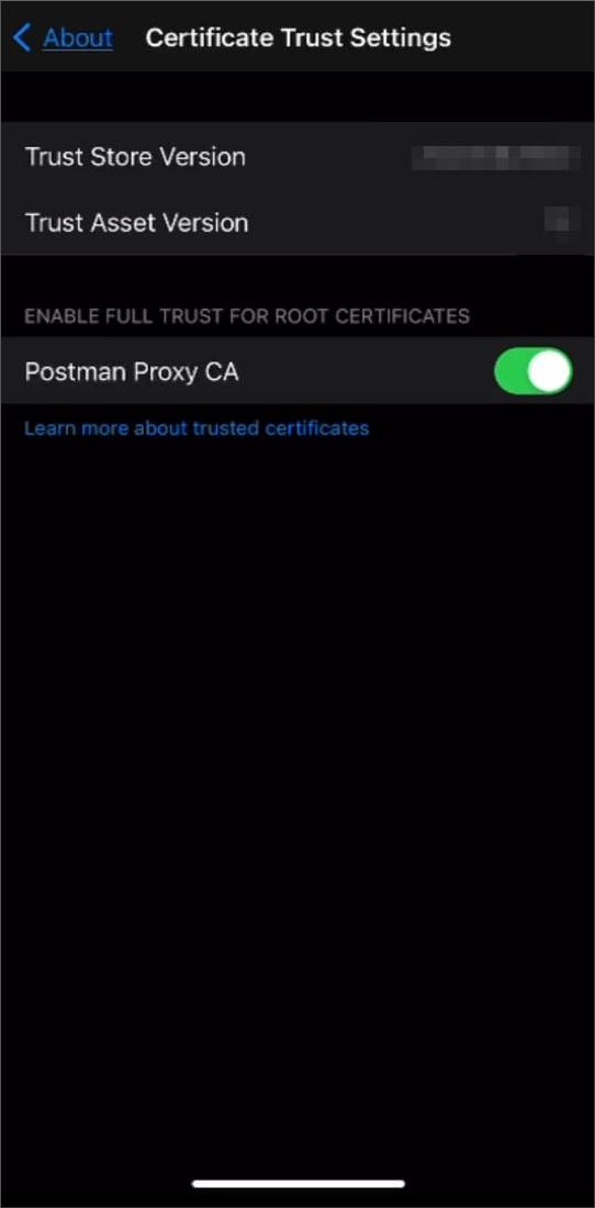 iOS crt full trust settings