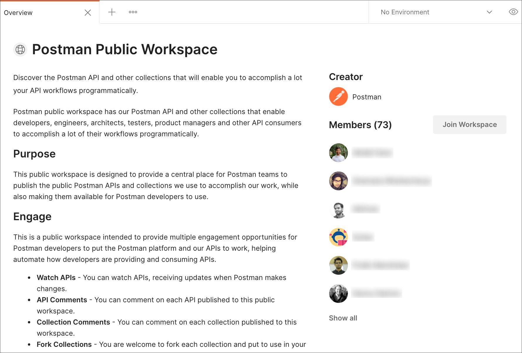 Join public workspace