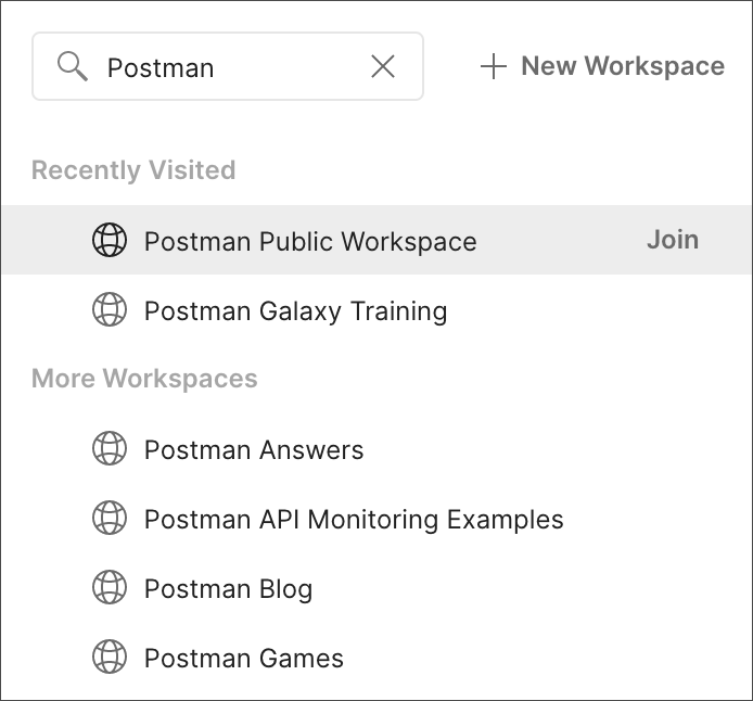 Joining a public workspace overview