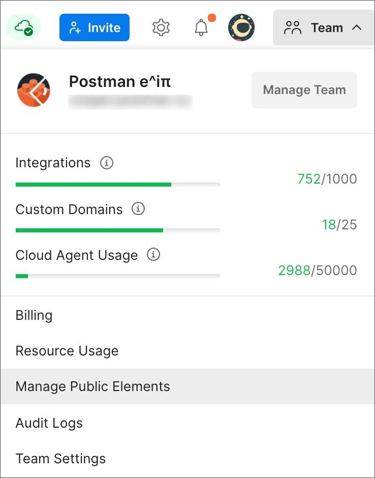 Manage public elements from team dropdown
