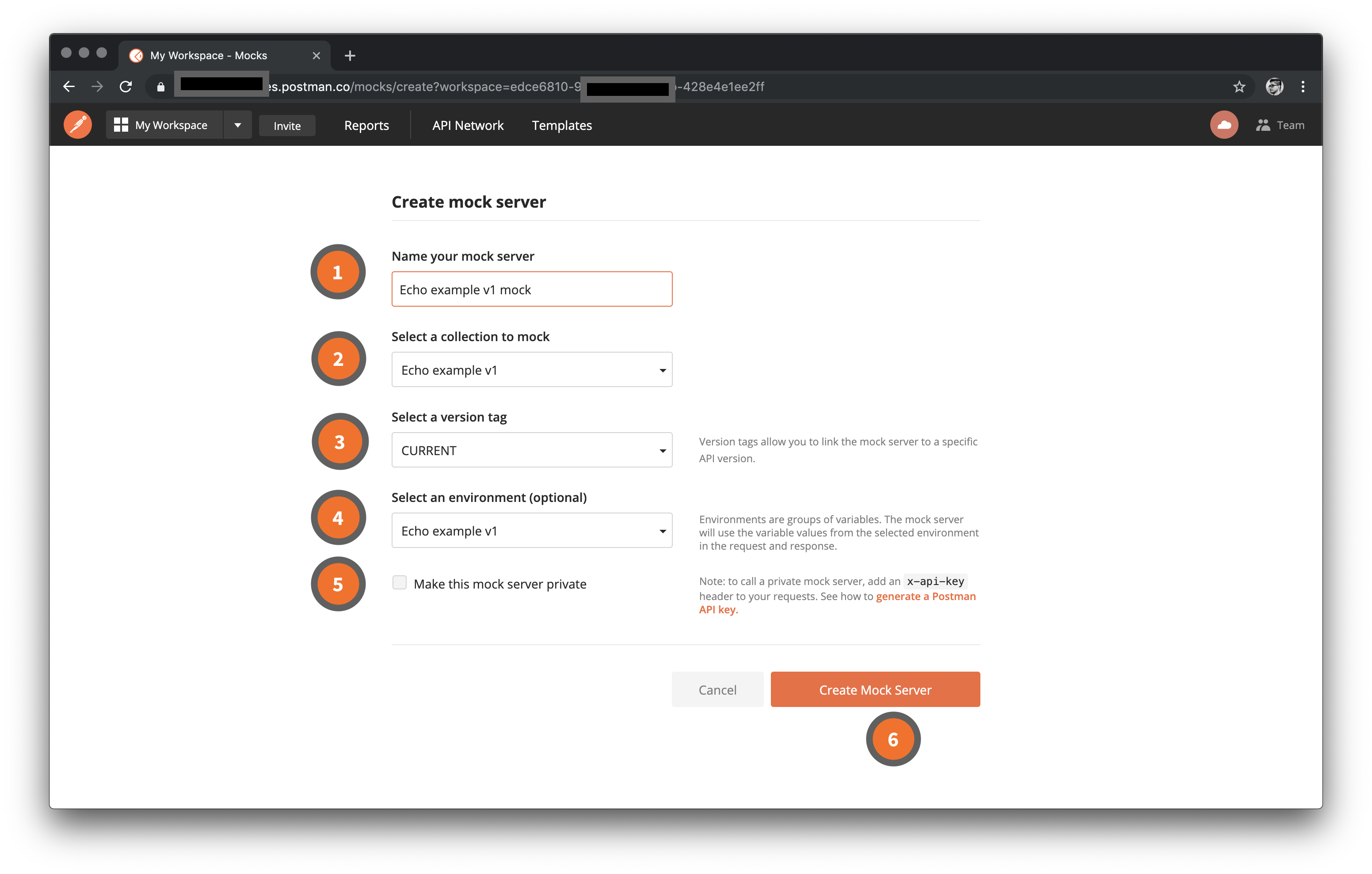 Mock servers web dashboard configuration
