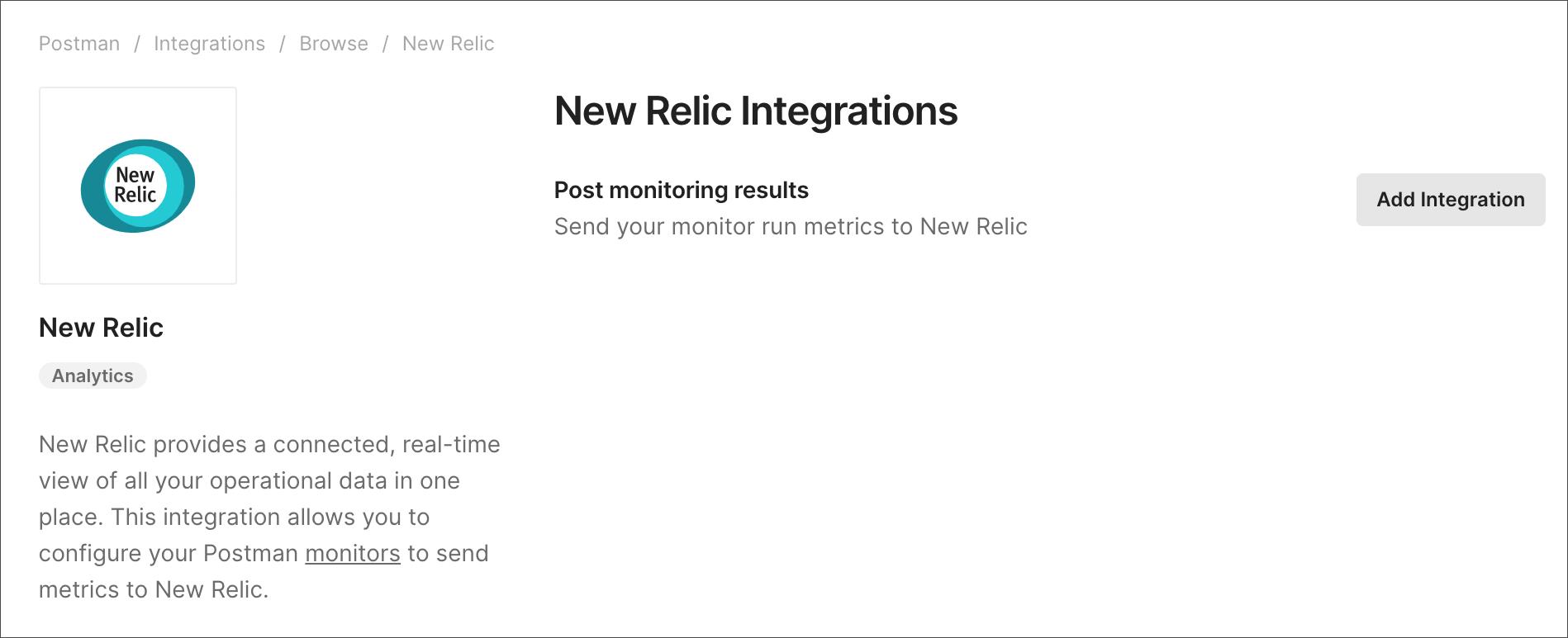 new relic add integration