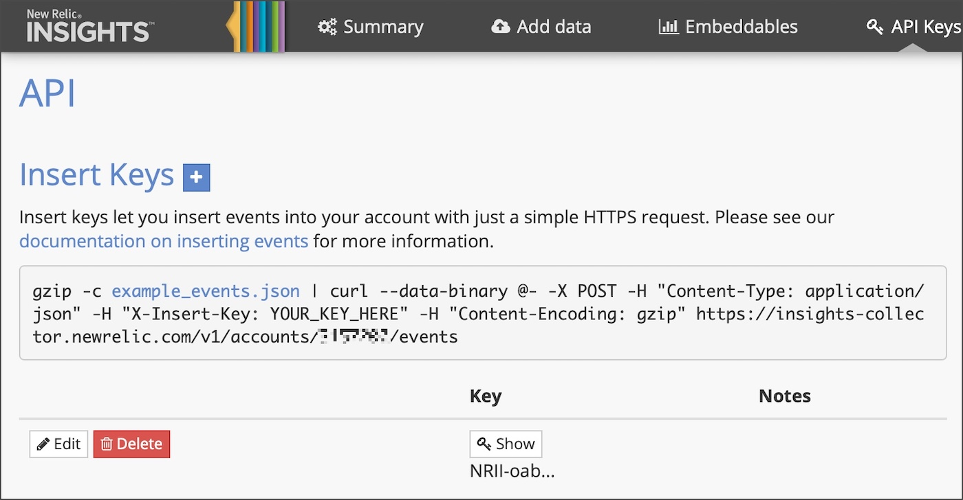 New Relic API keys
