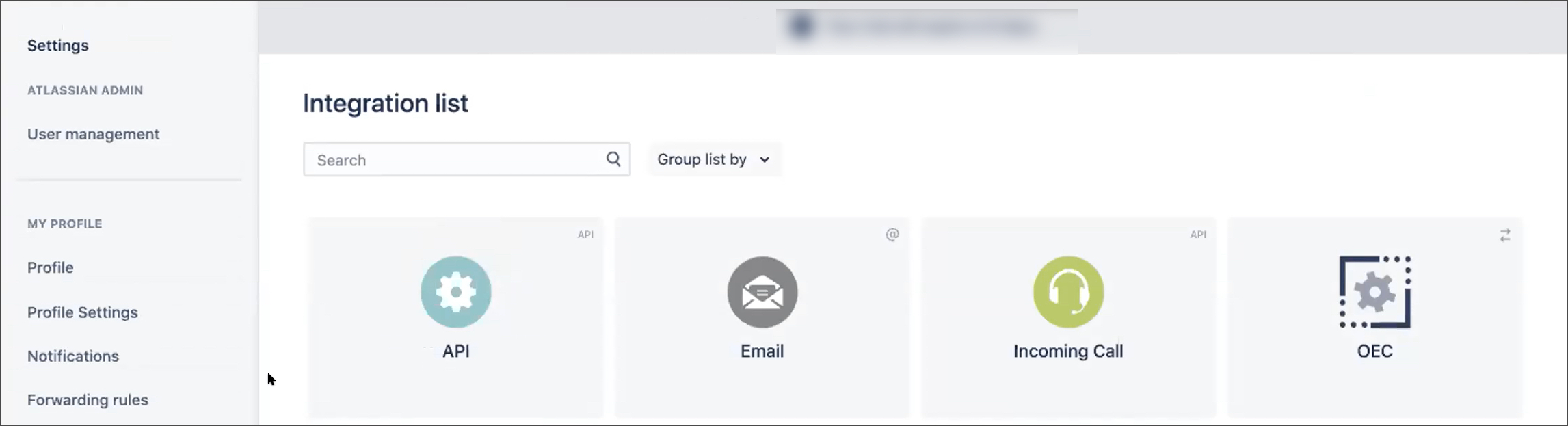 select API integration option