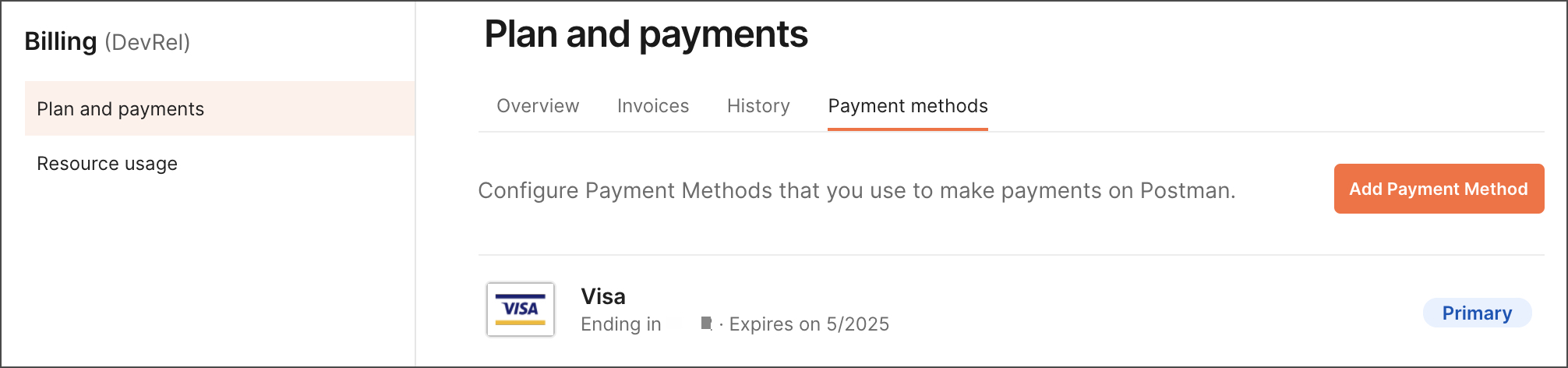 Payment methods view