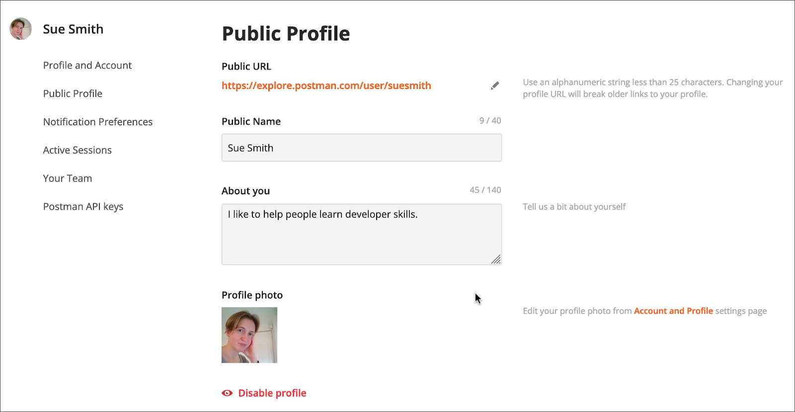 Personal Profile Settings