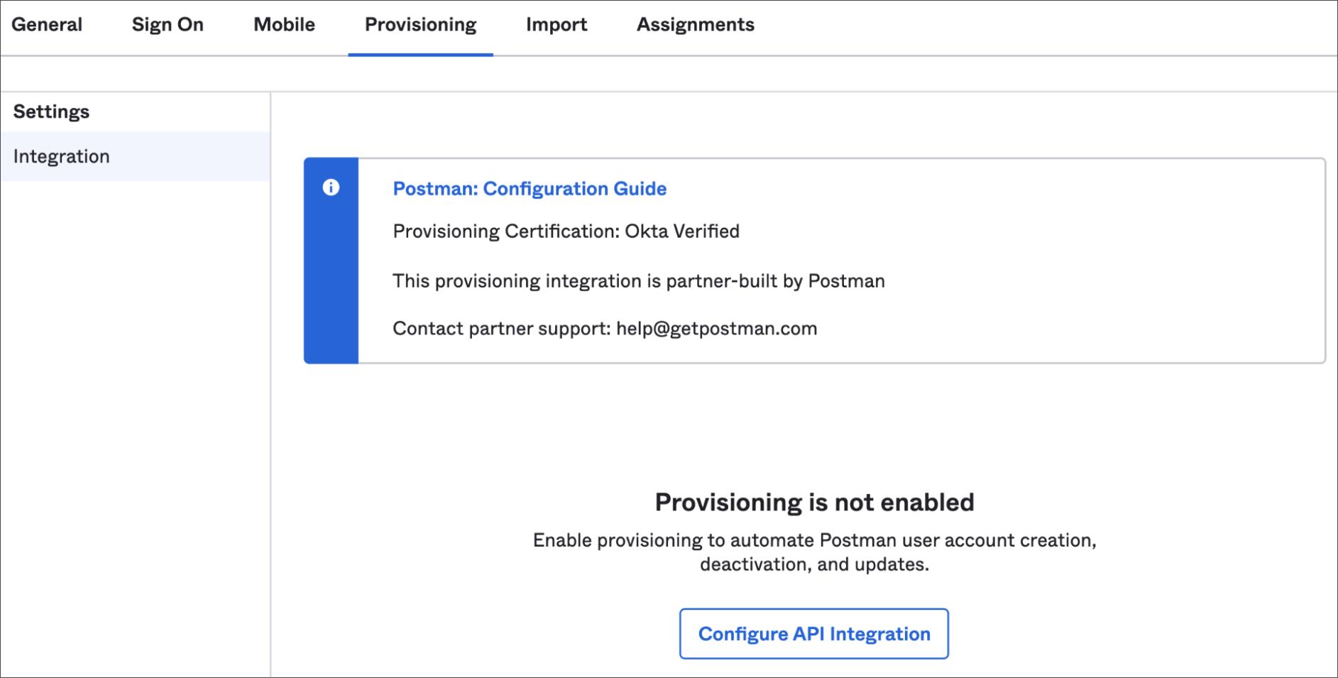 Configure API Integration in Okta Postman app
