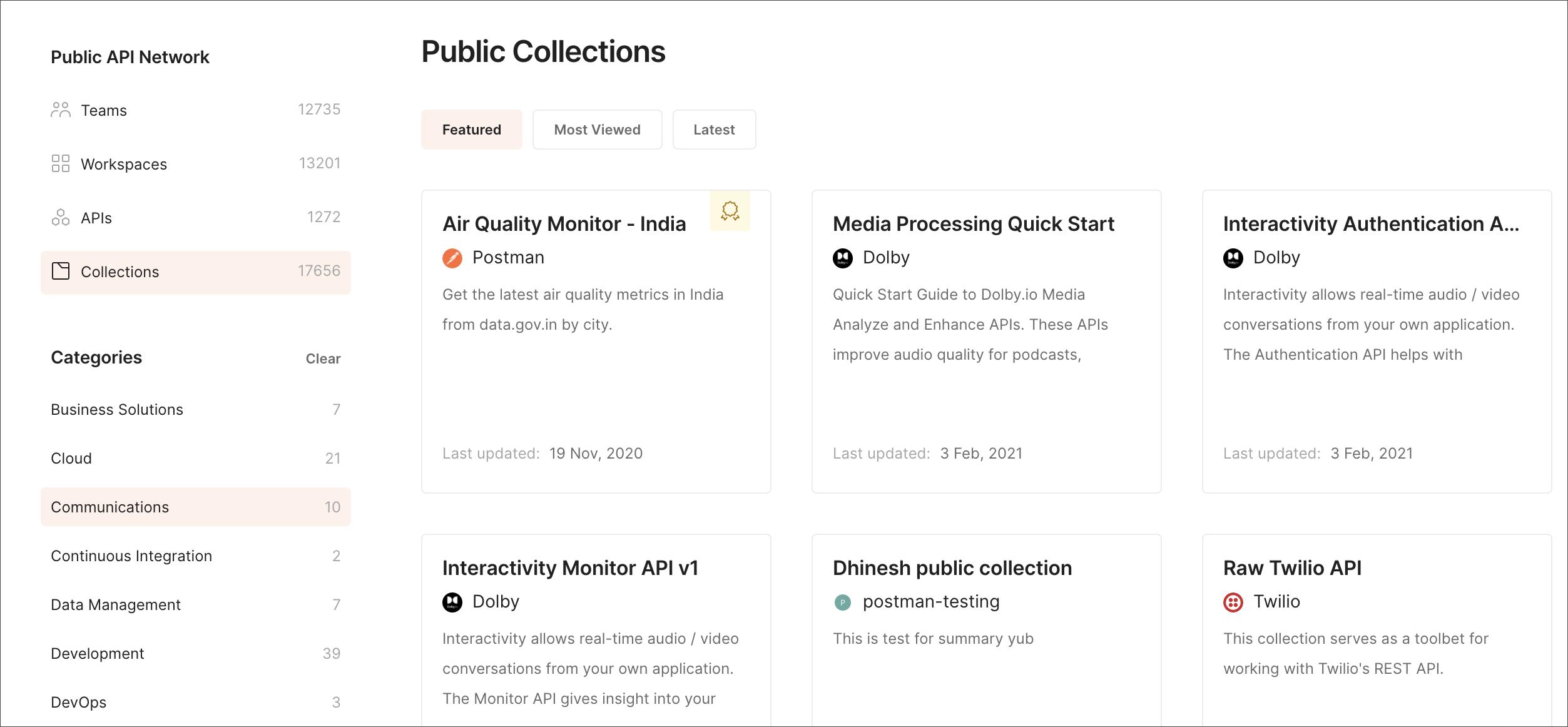 Public API Network Categories filter