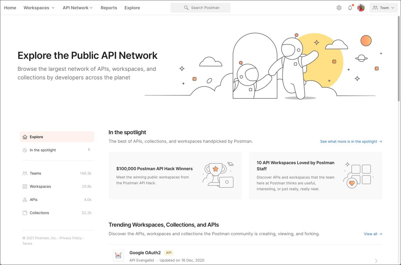 Postman Public API Network