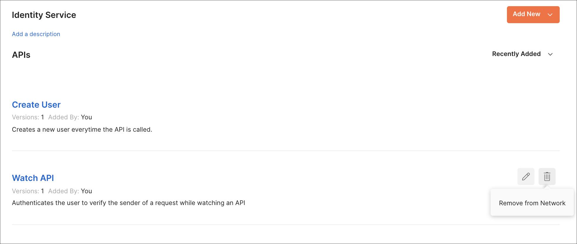 Remove API fom Network