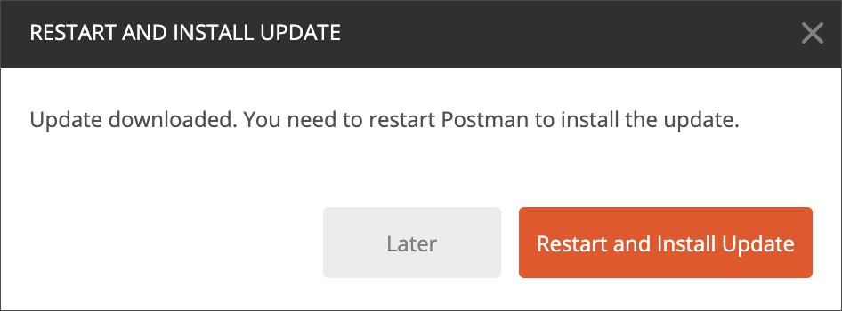 Restart and install modal