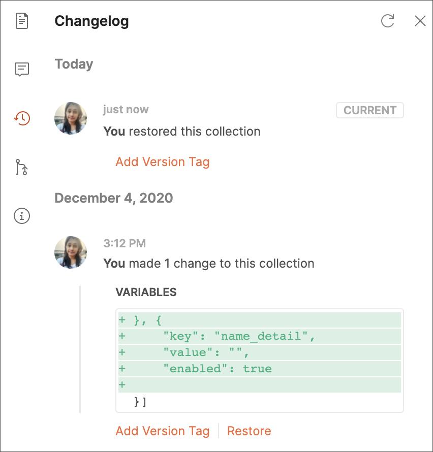 Restore from changelog