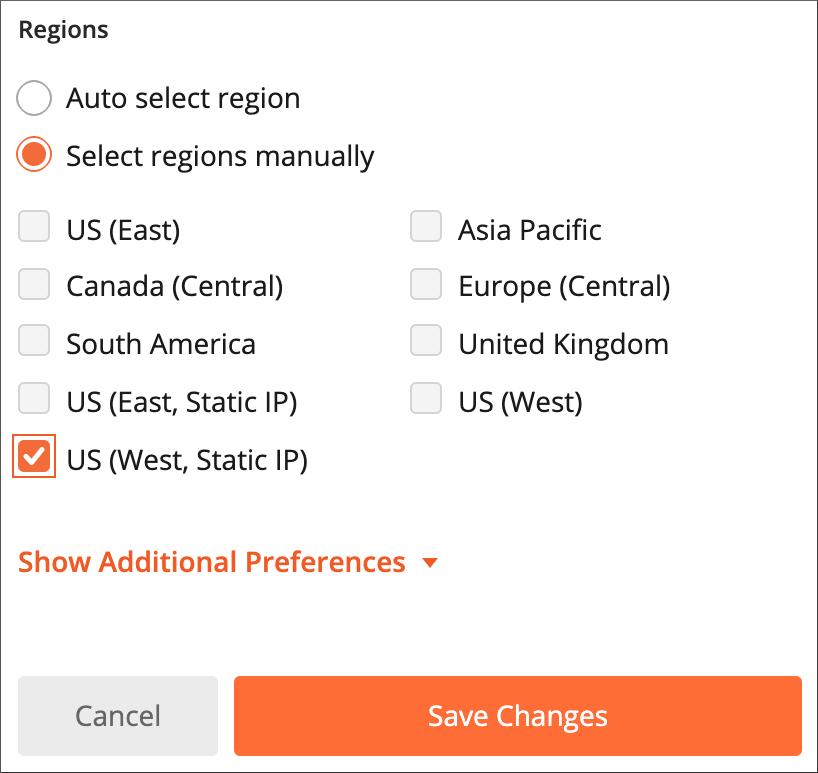 Selecting regions