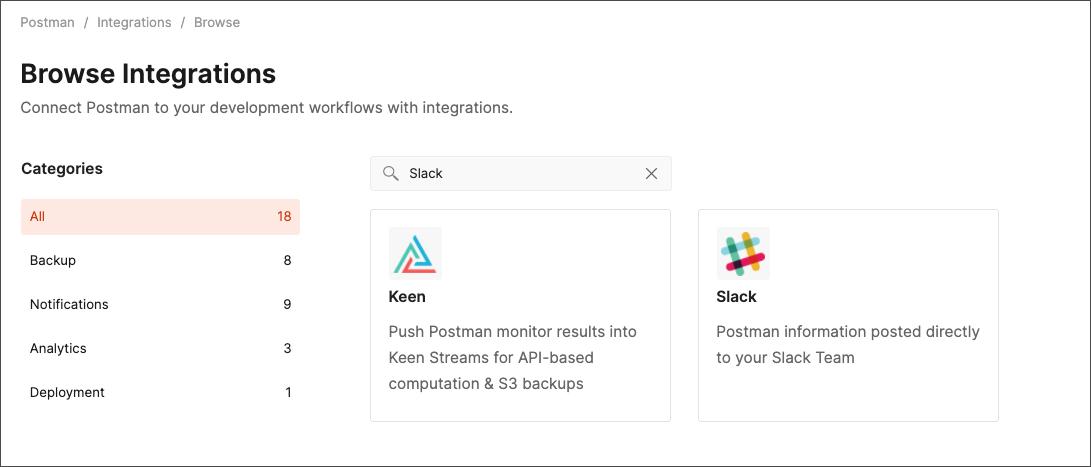 search for slack integration